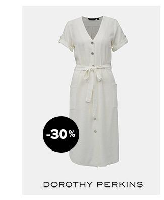Krémové šaty sprímesou ľanu Dorothy Perkins | ZOOT.sk