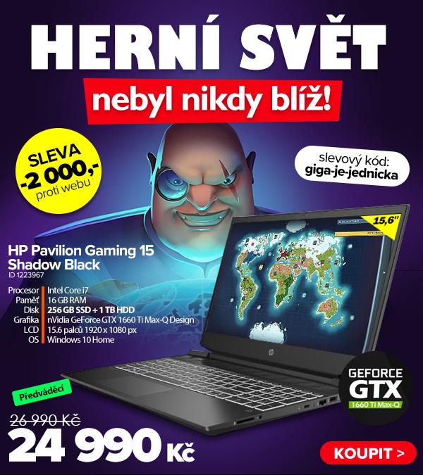 HP Pavilion Gaming 15-dk0007ne Shadow Black za 26990Kč - Notebook   GIGACOMPUTER.CZ