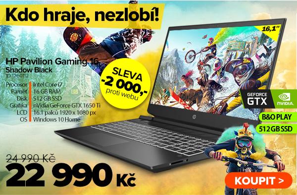 HP Pavilion Gaming 16-a0006nl Shadow Black za 23990Kč - Notebook | GIGACOMPUTER.CZ